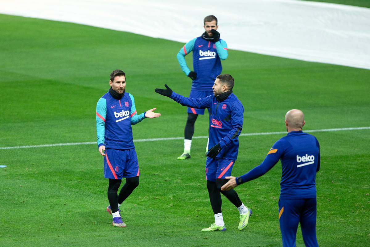Lionel Messi of Barcelona gestures during the training session of FC Barcelona ahead of the Supercopa de Espana Final match against Athletic Club at Estadio de La Cartuja on January 16, 2021 in Sevilla, Spain