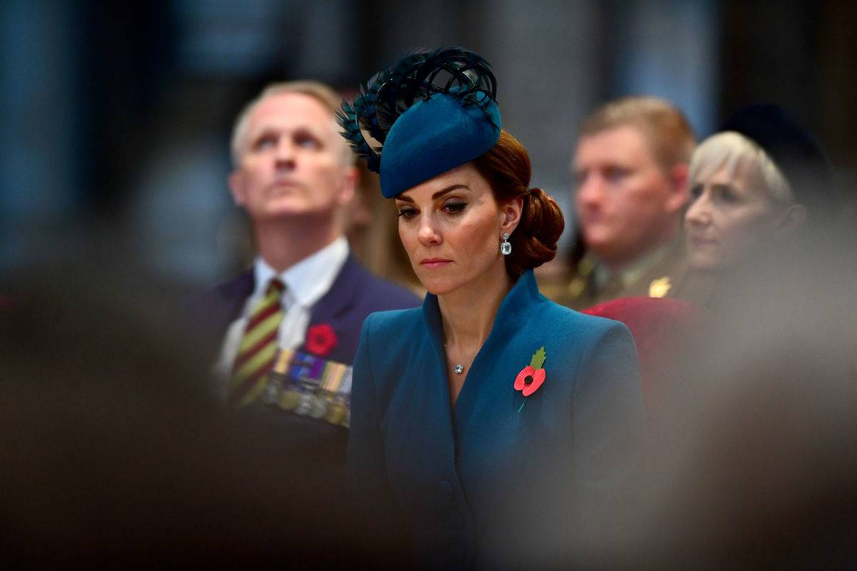 Britain's Catherine, Duchess of Cambridge, attends a service of commemoration and thanksgiving to mark Anzac Day in Westminster Abbey in London on April 25, 2019