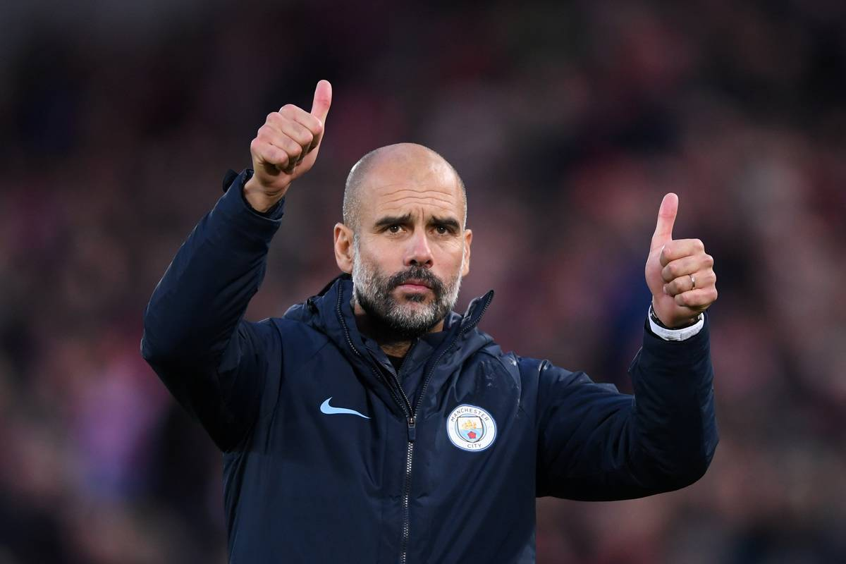 Josep Guardiola, Manager of Manchester City acknowledges the fans after the Premier League match between Liverpool FC and Manchester City at Anfield on October 7, 2018 in Liverpool, United Kingdom