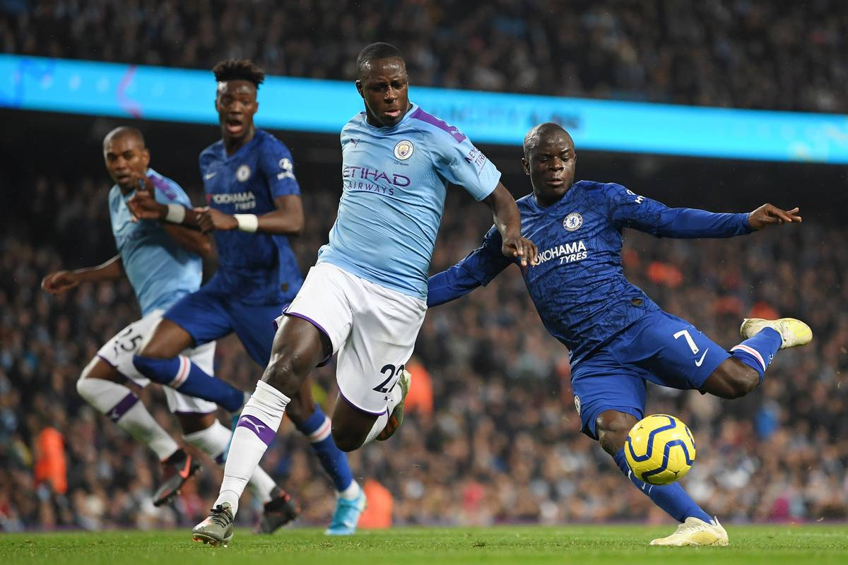 N'Golo Kante of Chelsea scores his team's first goal during the Premier League match between Manchester City and Chelsea FC at Etihad Stadium on November 23, 2019 in Manchester, United Kingdom