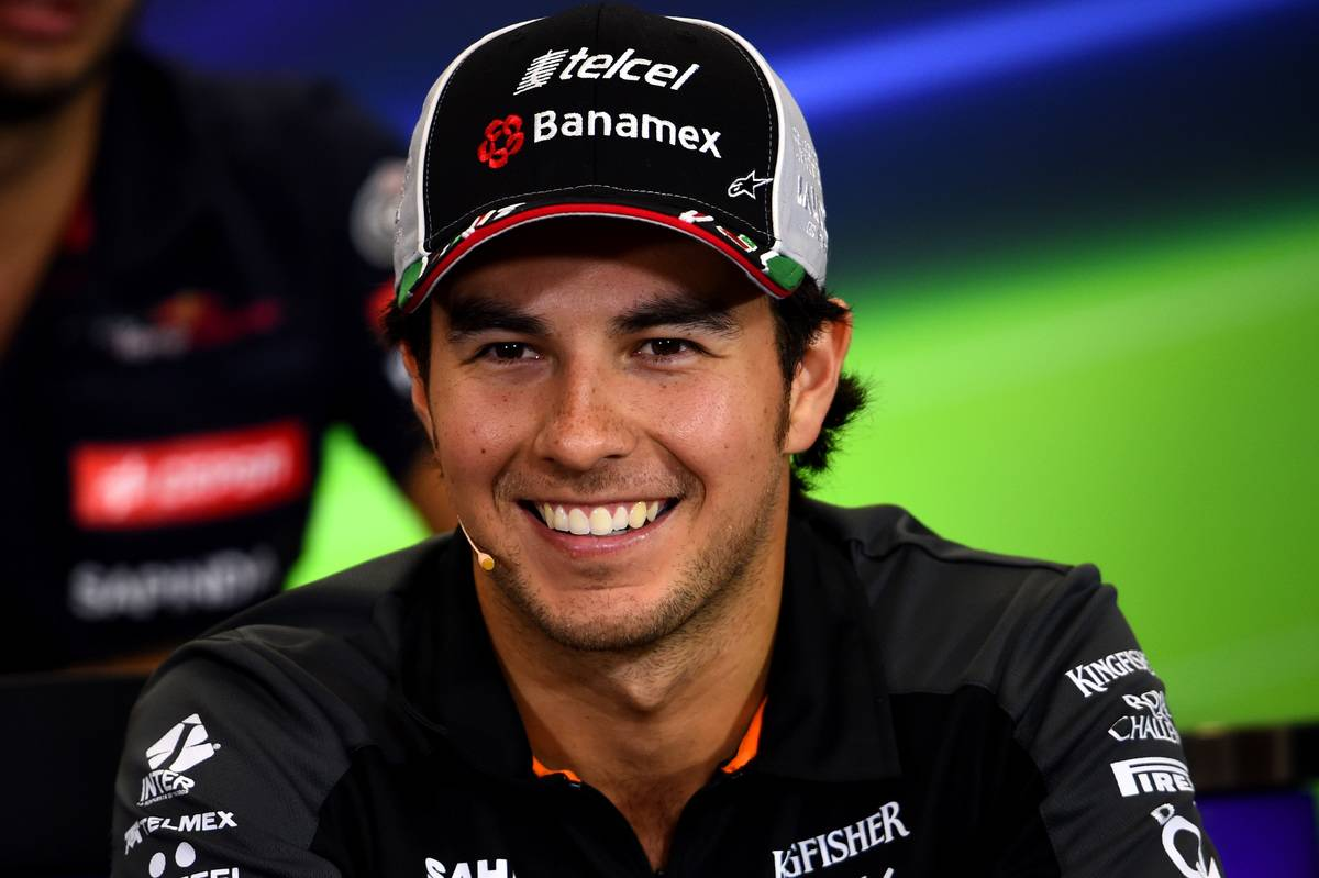 Sergio Perez of Mexico and Force India speaks at a press conference during previews to the Formula One Grand Prix of Mexico at Autodromo Hermanos Rodriguez on October 29, 2015 in Mexico City, Mexico
