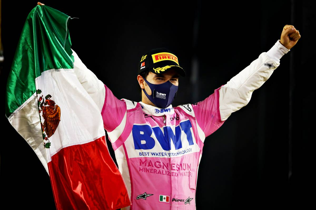 Race winner Sergio Perez of Mexico and Racing Point celebrates in parc ferme during the F1 Grand Prix of Sakhir at Bahrain International Circuit on December 06, 2020 in Bahrain, Bahrain