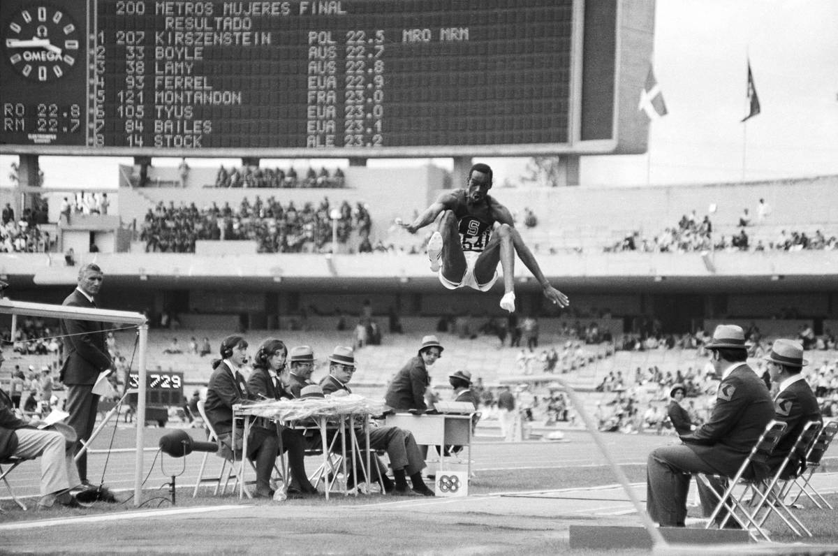 Robert Beamon Jumping to Break Record