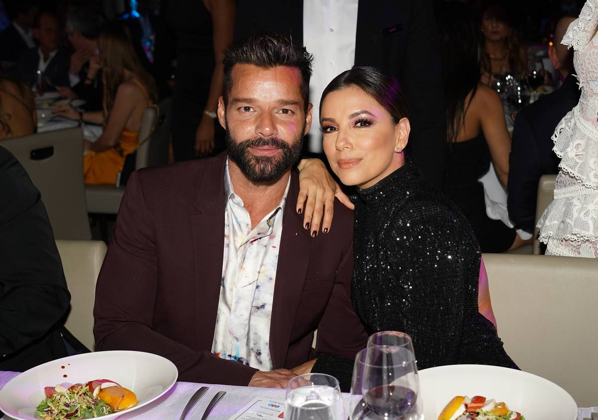 Ricky Martin and Eva Longoria are seen at the Global Gift Gala during Art Basel 2019 at the Eden Roc Hotel on December 5, 2019 in Miami Beach, Florida