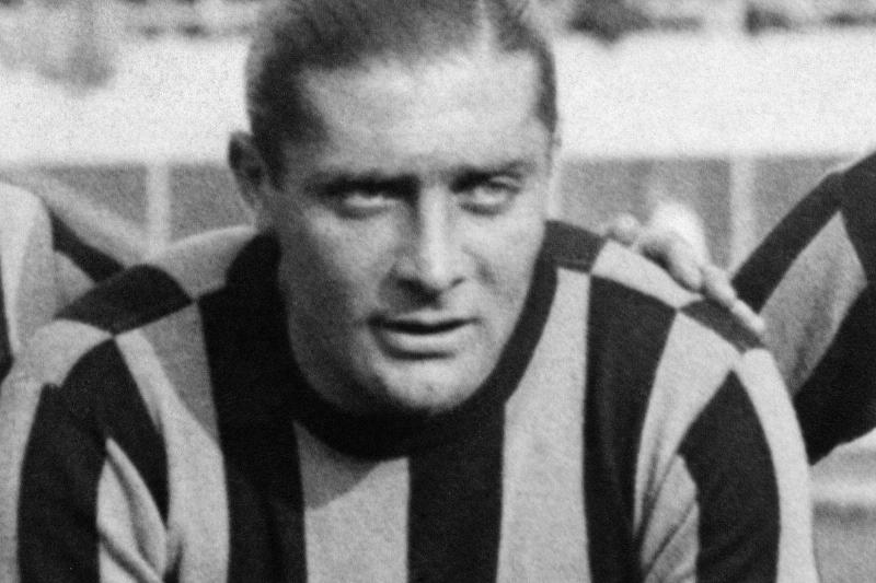The footballer Giuseppe Meazza is photographed before a match in the 1930's wearing the Inter-Milan jersey