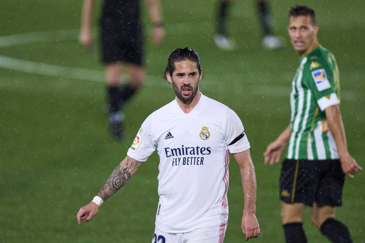 Isco of Real Madrid looks on during the La Liga Santander match between Real Madrid and Real Betis at Estadio Alfredo Di Stefano on April 24, 2021 in Madrid, Spain