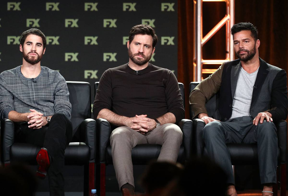 Actors Darren Criss, Edgar Ramirez and Ricky Martin of the television show The Assassination of Gianni Versace speak onstage during the FOX/FX Networks portion of the 2018 Winter Television Critics Association Press Tour at The Langham Huntington, Pasadena on January 5, 2018 in Pasadena, California