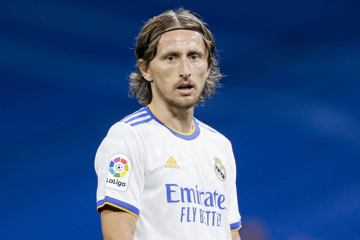 Luka Modric of Real Madrid during the La Liga Santander match between Real Madrid v Villarreal at the Estadio Santiago Bernabeu on September 25, 2021 in Madrid Spain